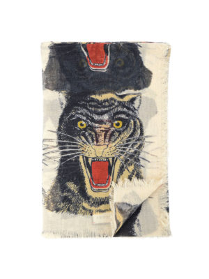 Gucci: Stoles & Shawls - Tiger print fringed shawl