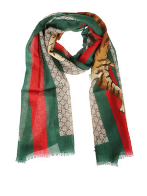 Gucci: Stoles & Shawls - Web & Tiger print wool stole
