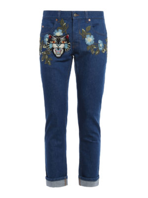 Gucci: straight leg jeans - Embroidered Angry Cat patch jeans
