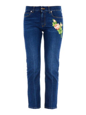 Gucci: straight leg jeans - Flower and tiger patch jeans