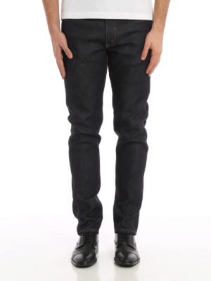 Gucci: straight leg jeans online - Back tiger patch slim jeans