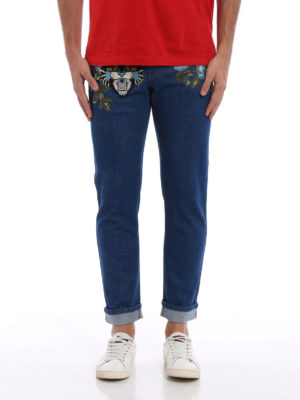 Gucci: straight leg jeans online - Embroidered Angry Cat patch jeans