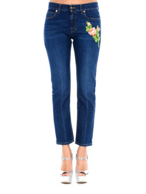 Gucci: straight leg jeans online - Flower and tiger patch jeans