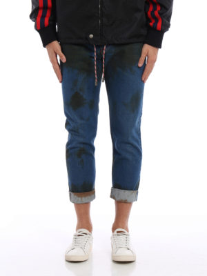 Gucci: straight leg jeans online - Stained effect denim jeans
