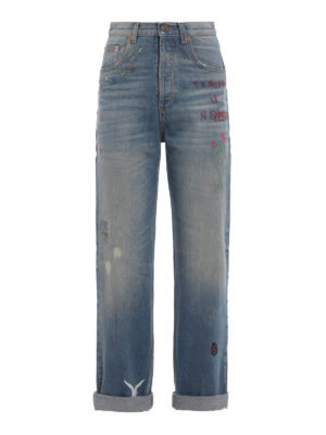 Gucci: straight leg jeans - Sprovveduta Età embroidered jeans