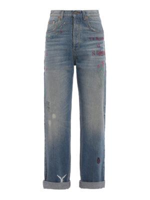 Gucci: straight leg jeans - Sprovveduta Età embroidered jeans
