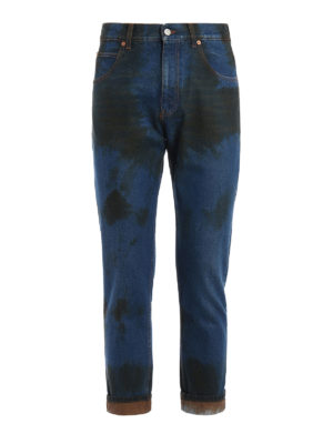 Gucci: straight leg jeans - Stained effect denim jeans