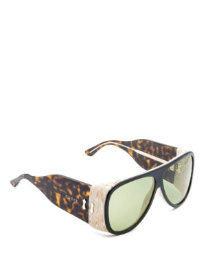 Gucci: sunglasses - Aviator broad temple sunglasses