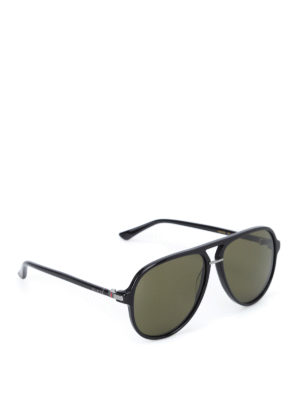 Gucci: sunglasses - Aviator shaped polished sunglasses