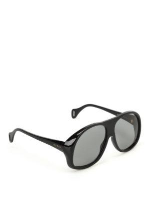 Gucci: sunglasses - Black acetate mask sunglasses