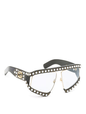 Gucci: sunglasses - Black sunglasses with beads