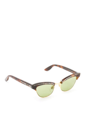 Gucci: sunglasses - Cat eye sunglasses with rhinestones