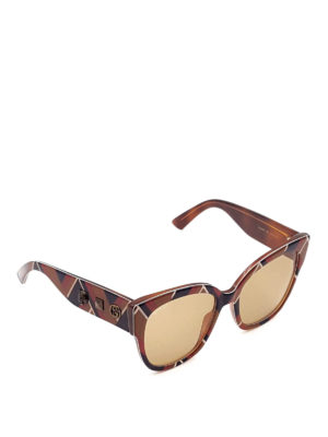 Gucci: sunglasses - Chevron acetate sunglasses