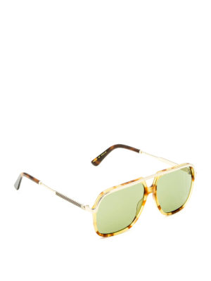 Gucci: sunglasses - Double bridge square sunglasses