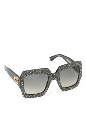 Gucci: sunglasses - Embellished over square sunglasses