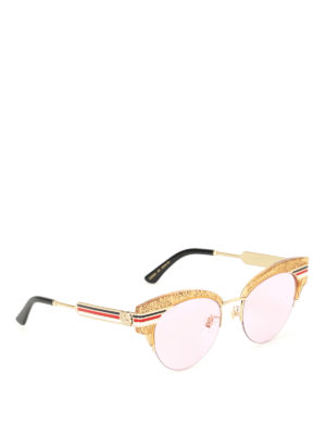 Gucci: sunglasses - Glitter gold cat eye sunglasses