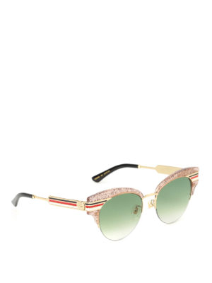 Gucci: sunglasses - Glitter nude cat eye sunglasses