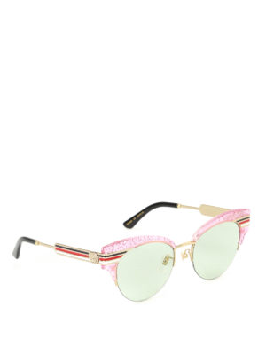 Gucci: sunglasses - Glitter pink cat eye sunglasses