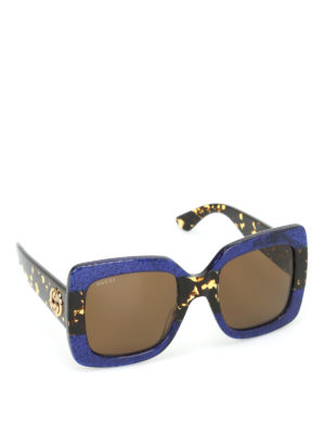 Gucci: sunglasses - Glittered over square sunglasses