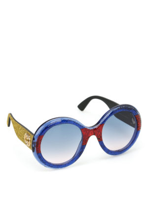 Gucci: sunglasses - Glittered rounded sunglasses
