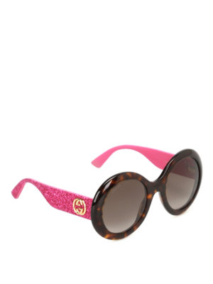 Gucci: sunglasses - Glittered temple oval sunglasses