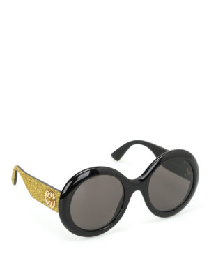 Gucci: sunglasses - Glittered temples sunglasses