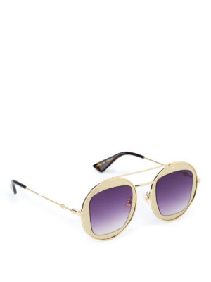 Gucci: sunglasses - Gold-tone metal frame sunglasses