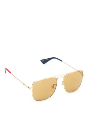 Gucci: sunglasses - Gold tone metal sunglasses