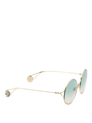 Gucci: sunglasses - Gold-tone rounded frame sunglasses