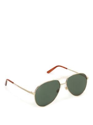 Gucci: sunglasses - Golden metal aviator sunglasses