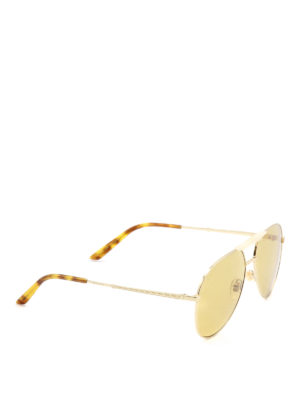 Gucci: sunglasses - Golden metal aviator sunglasses