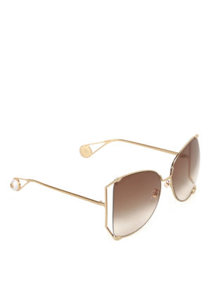 Gucci: sunglasses - Golden metal oversized sunglasses