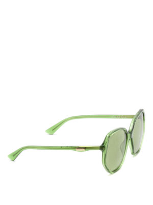 Gucci: sunglasses - Green geometric sunglasses