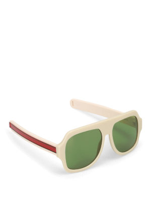 Gucci: sunglasses - Green lenses ivory mask sunglasses