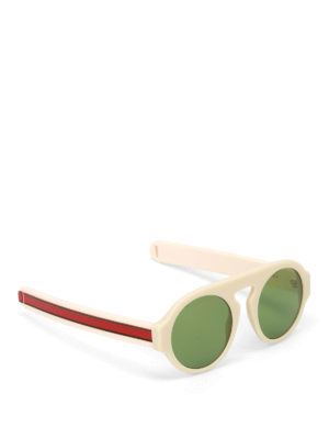 Gucci: sunglasses - Green lenses ivory round sunglasses