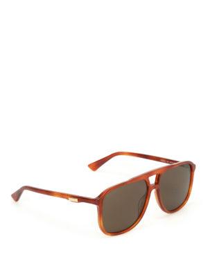 Gucci: sunglasses - Havana square sunglasses