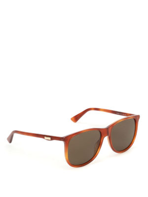 Gucci: sunglasses - Havana square sunglasses