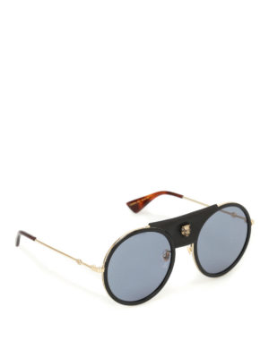 Gucci: sunglasses - Leather detailed round sunglasses