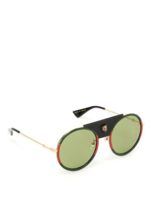 Gucci: sunglasses - Leather detailed rounded sunglasses
