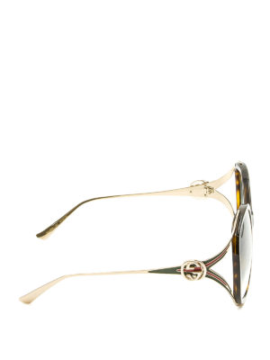 Gucci: sunglasses online - Brown acetate and metal sunglasses
