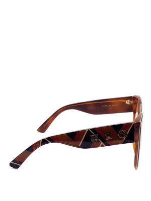 Gucci: sunglasses online - Chevron acetate sunglasses