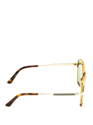 Gucci: sunglasses online - Double bridge square sunglasses