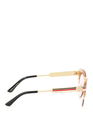 Gucci: sunglasses online - Glitter gold cat eye sunglasses