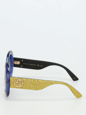 Gucci: sunglasses online - Glittered rounded sunglasses