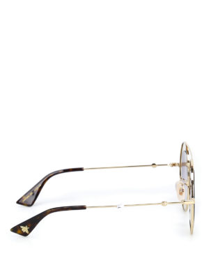 Gucci: sunglasses online - Gold-tone metal frame sunglasses
