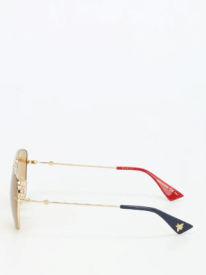 Gucci: sunglasses online - Gold tone metal sunglasses