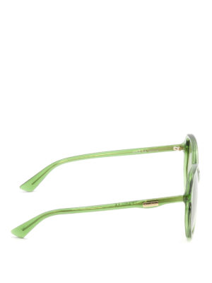 Gucci: sunglasses online - Green geometric sunglasses