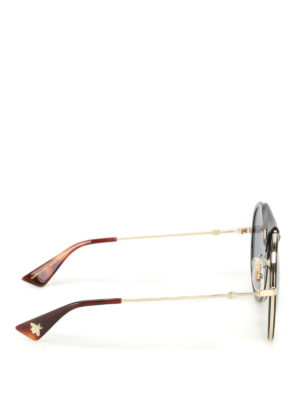 Gucci: sunglasses online - Leather detailed round sunglasses