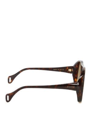Gucci: sunglasses online - Tortoiseshell mask sunglasses