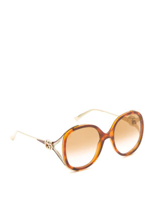 Gucci: sunglasses - Round acetate and metal sunglasses